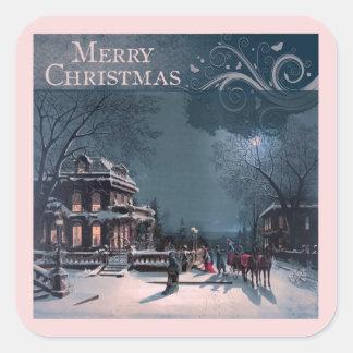 Vintage Merry Christmas Square Sticker