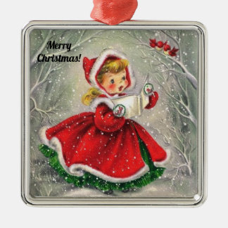 Vintage Merry Christmas tree ornament with girl