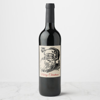 Vintage Merry Christmas wine label with Santa