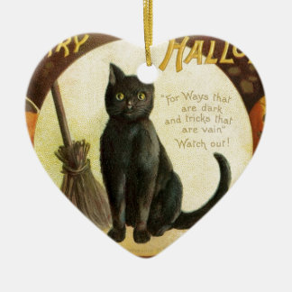 Vintage Merry Halloween - black cat and pumpkins Ceramic Heart Decoration