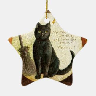 Vintage Merry Halloween - black cat and pumpkins Ceramic Star Decoration