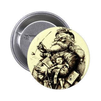 Vintage Merry Old Santa Claus 6 Cm Round Badge