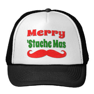 Vintage Merry Stache Mas Funny Christmas Shirt Mesh Hat