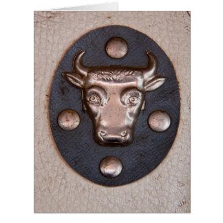 Vintage metal bull head big greeting card