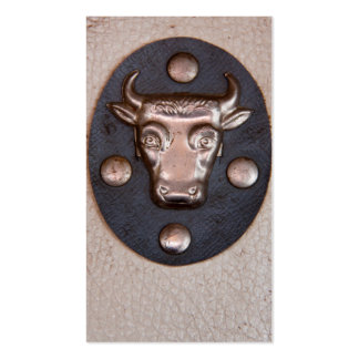 Vintage metal bull head business card