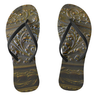 vintage metal decoration elegant floral old sculpt flip flops