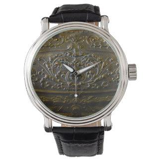 vintage metal decoration elegant floral old sculpt watch