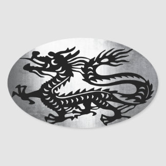 Vintage Metal Dragon Oval Sticker