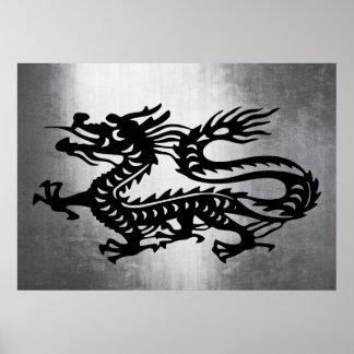 Vintage Metal Dragon Print