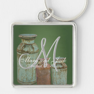 Vintage Metal Milk Jugs Rusty Chalkboard Silver-Colored Square Key Ring