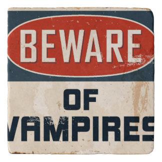 Vintage Metal Sign - Beware Of Vampires Trivet