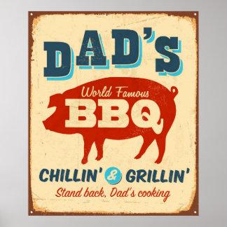 Vintage metal sign - Dad's BBQ Poster