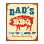 Vintage metal sign - Dad's BBQ Stretched Canvas Print