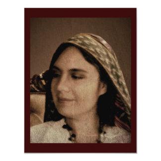 Vintage Mexican Girl 11 Cm X 14 Cm Invitation Card
