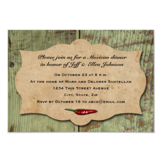 Vintage Mexican Red Chili Peppers Party 9 Cm X 13 Cm Invitation Card