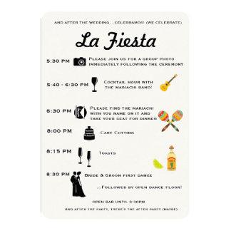 Vintage Mexican Wedding or Fiesta Program Timeline 13 Cm X 18 Cm Invitation Card