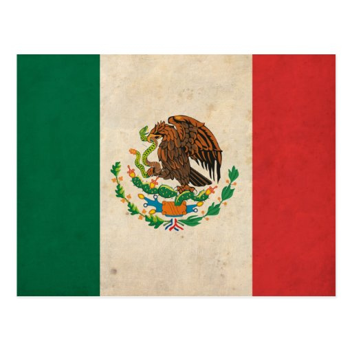 Vintage Mexico Flag Postcard