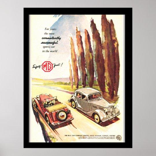 Vintage MG Cars Transport Poster print