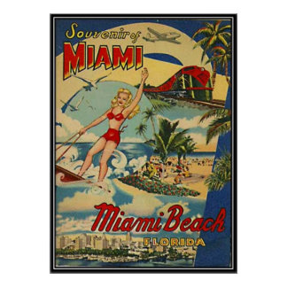 Vintage Miami Beach, Florida, USA - Poster