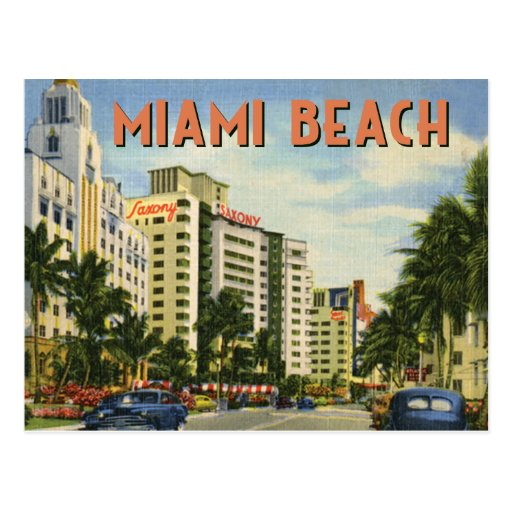 Vintage Miami Beach Street Scene Postcard