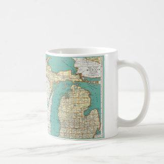 Vintage Michigan Map Basic White Mug