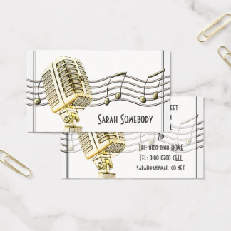Vintage Microphone Design Business Card