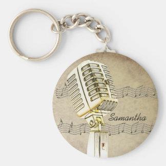 Vintage Microphone Design Keychain