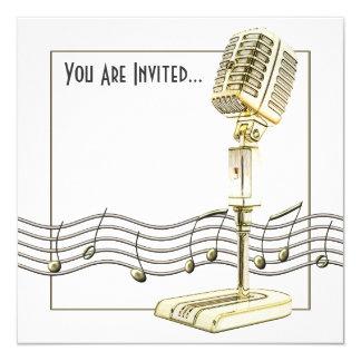 Vintage Microphone Music 13 Cm X 13 Cm Square Invitation Card