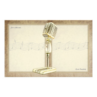 Vintage Microphone Notepaper Customized Stationery