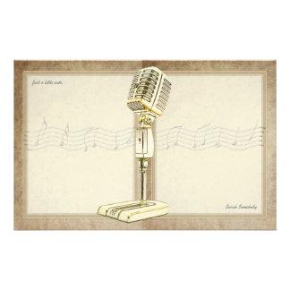 Vintage Microphone Notepaper Stationery Design