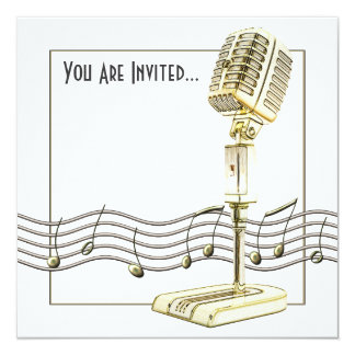 "Vintage Microphone Party Invitations 5.25"" Square Invitation Card"