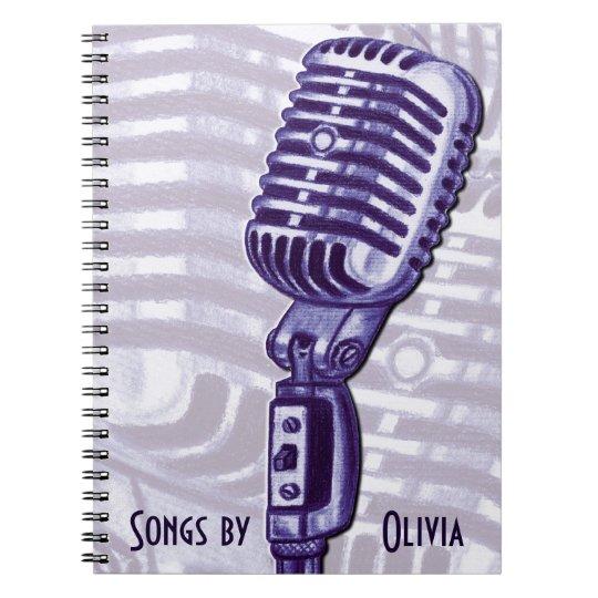 Vintage Microphone Personalised Lyric Book