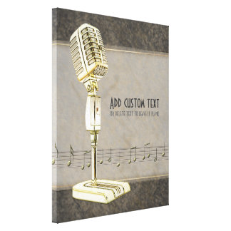 Vintage Microphone Wrapped Canvas Print