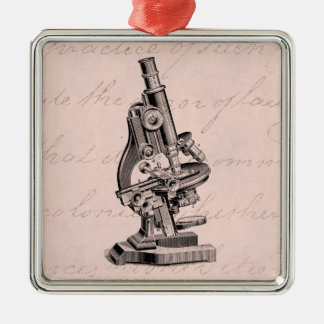 Vintage Microscope Illustration Pink Steampunk Silver-Colored Square Decoration