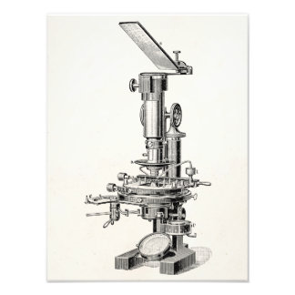 Vintage Microscope Illustration Retro Microscopes Photo Print