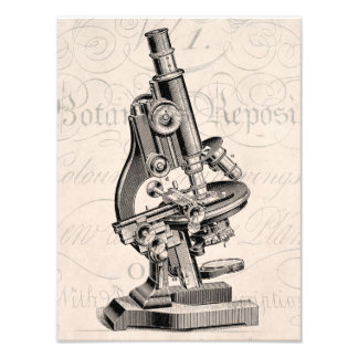 Vintage Microscope Illustration Retro Steampunk Photo Art