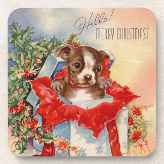 Vintage Mid Century Beautiful Baby Boston Terrier Coaster