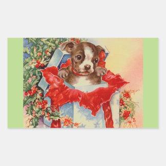 Vintage Mid Century Beautiful Baby Boston Terrier Rectangular Sticker