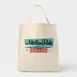 Vintage midcentury modern grocery tote bag
