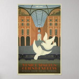 Vintage Milan Venice Simplon Orient Express Poster