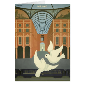 Vintage Milano Italy White Doves Orient Express Card