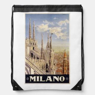 Vintage Milano Milan Italy backbag Drawstring Bag