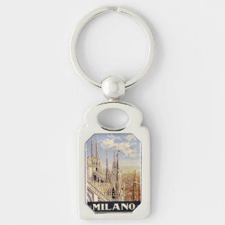 Vintage Milano Milan Italy key chain Silver-Colored Rectangle Key Ring