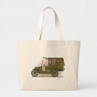 Vintage Military Ambulance Large Tote Bag