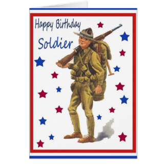 Vintage Military Happy Birthday Card