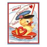 Vintage Military Hello! I Miss You Sailor Postcard