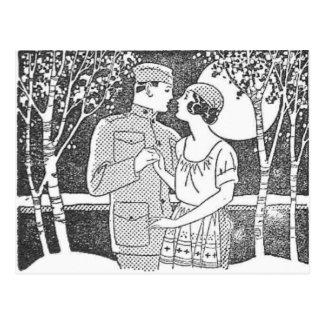 Vintage Military Love Postcard