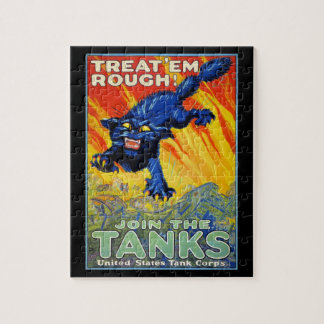 Vintage Military War Advertising with a Wild Cat Jigsaw Puzzle