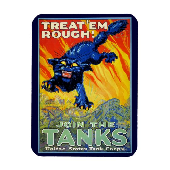 Vintage Military War Advertising with a Wild Cat Rectangular Photo Magnet