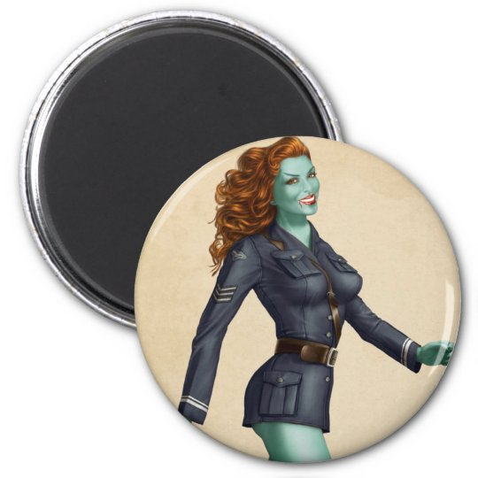 Vintage Military Zombie Pinup Girl 6 Cm Round Magnet
